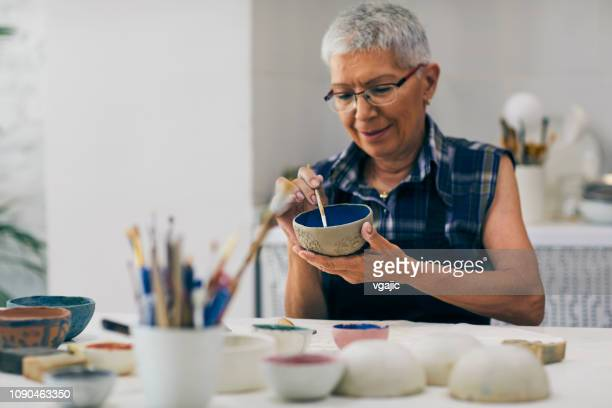 seniors ceramic workshop - craft product stock pictures, royalty-free photos & images