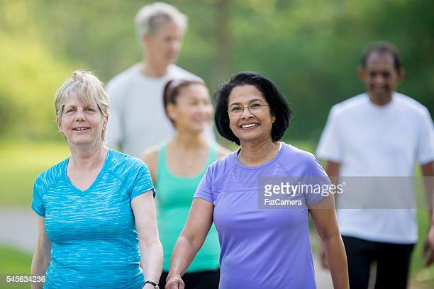 Seniors Enjoying a Walk at the Park
