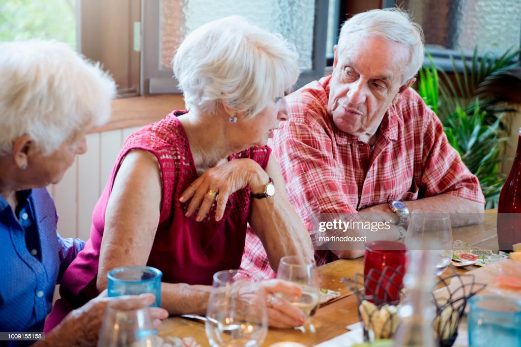 Seniors having dinner and conversation in summer house. : Stock Photo