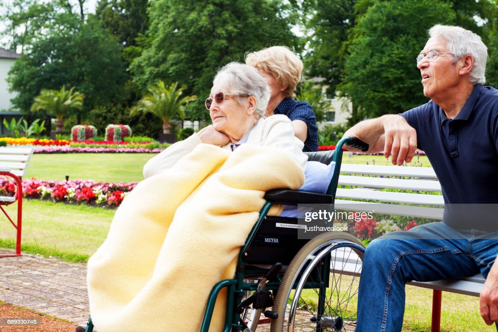 Seniors in park : Stock Photo