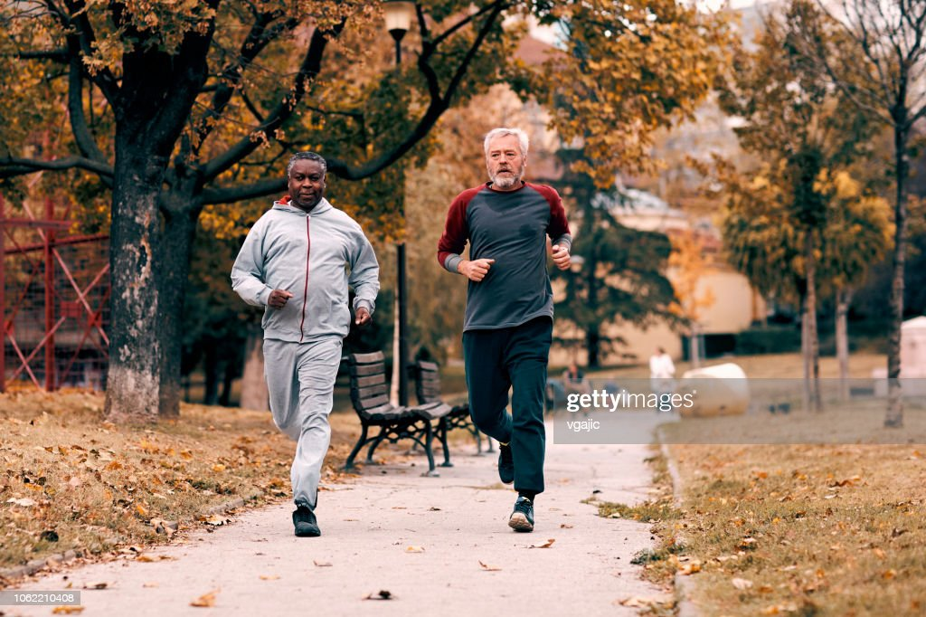 Seniors Jogging : Stock Photo