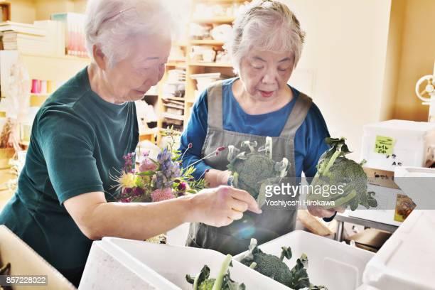 Seniors of small flower shop