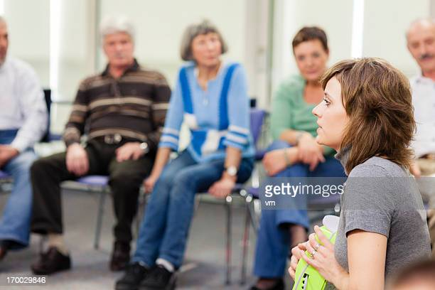 seniors on seminar - community centre stock pictures, royalty-free photos & images
