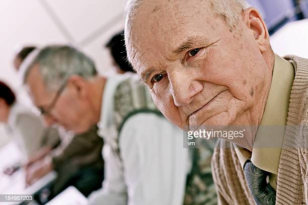 seniors on the seminar - only senior men stock pictures, royalty-free photos & images
