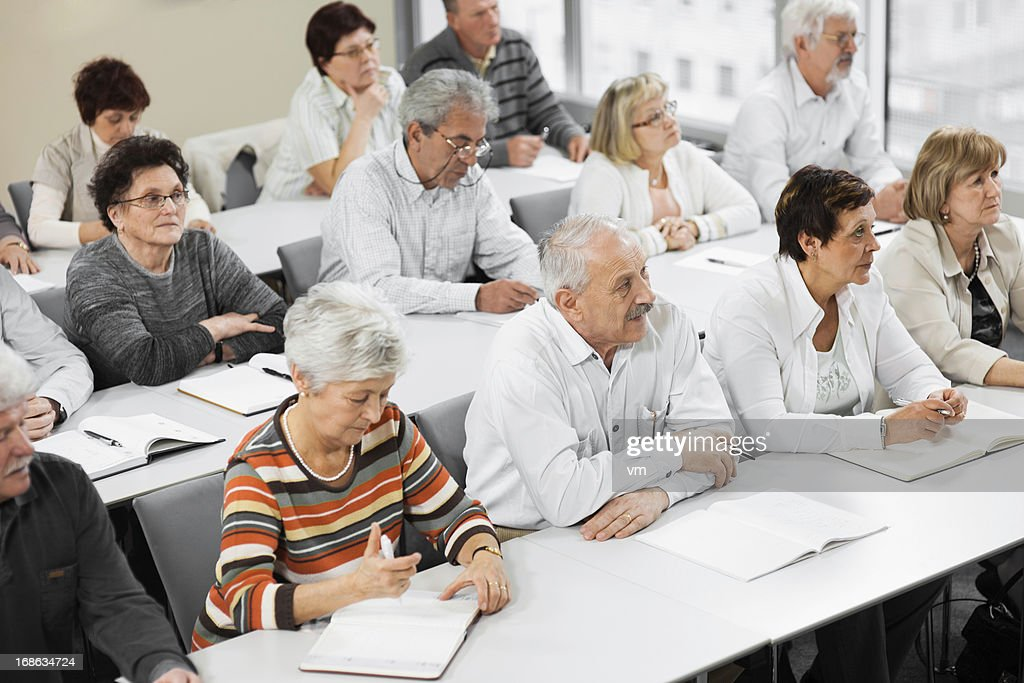 Seniors on the seminar : Stock Photo