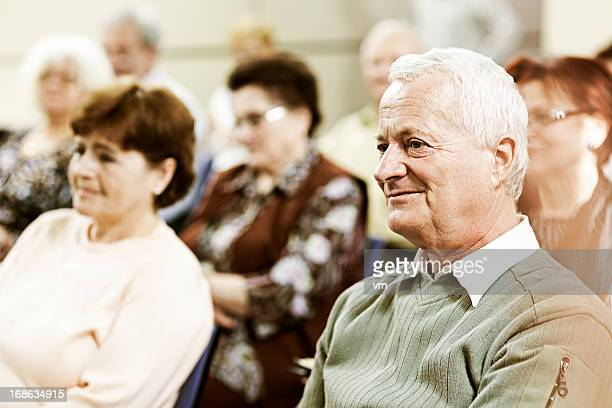 seniors on the seminar - community centre stock pictures, royalty-free photos & images