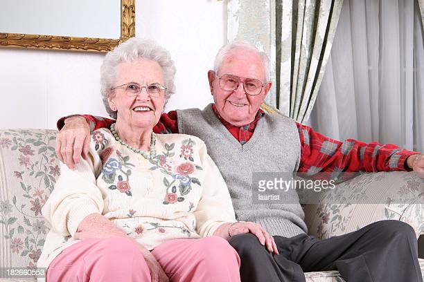 seniors smiling. - liver spot stock photos and pictures
