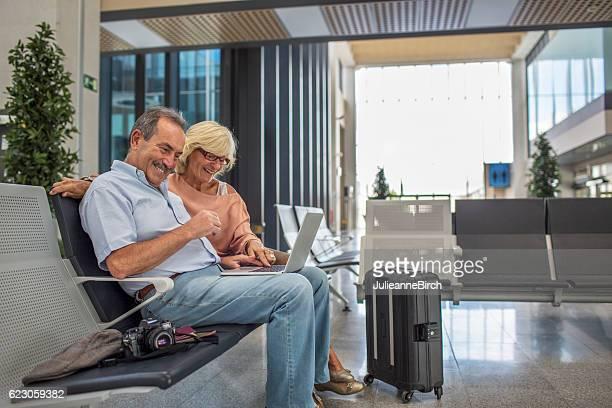 Seniors talking to family before flying