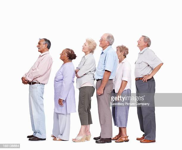 Seniors waiting in queue