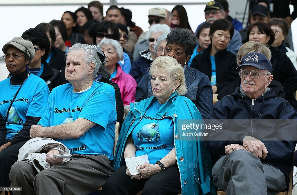 Seniors watch a speaker during a rally against budget cuts to senior programs at San Jose city hall May 17, 2010 in San Jose, California. Dozens of seniors attended a rally to oppose budget cuts to senior programs which include closing two popular senior centers that offer free meals.
