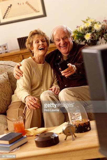 Seniors watching television