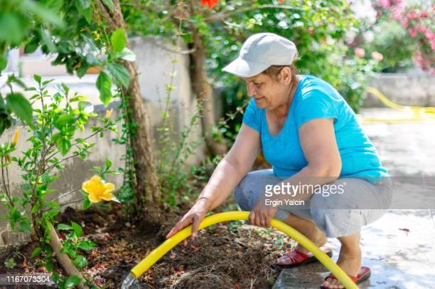 Seniorwoman watering the flowers