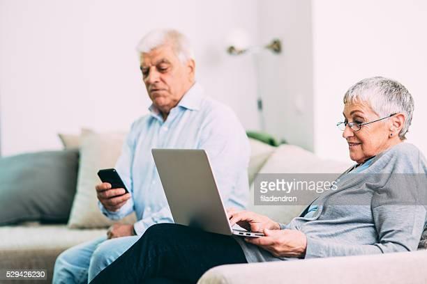 Seniour couple using new technology