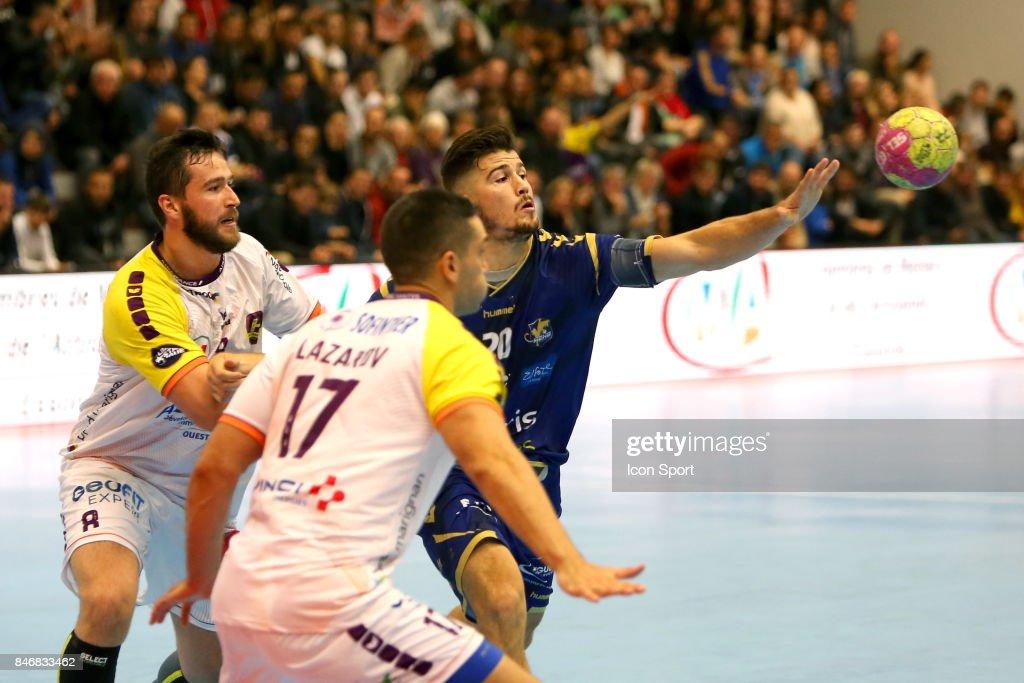 Senjamin Buric of Nantes and Johann Caron of Massy during Lidl Star Ligue match between Massy Essonne Handball and HBC Nantes on September 13, 2017 in Massy, France.