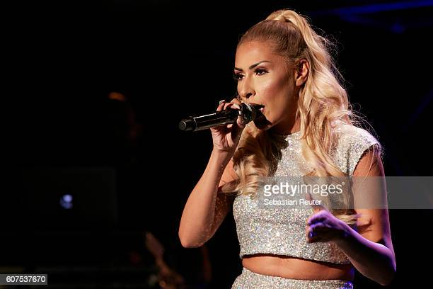 Senna Gammour performs during her program 'Liebeskummer ist ein Arschloch' at Quatsch Comedy Club on September 17 2016 in Berlin Germany