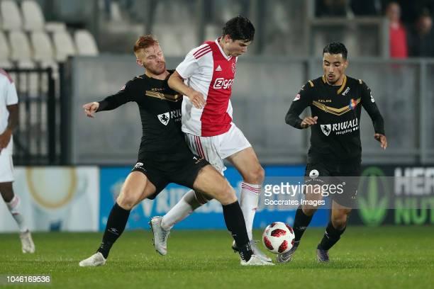 Senne Lynen of Telstar Jurgen Ekkenlenkamp of Ajax U23 Anass Najah of Telstar during the Dutch Keuken Kampioen Divisie match between Ajax U23 v...