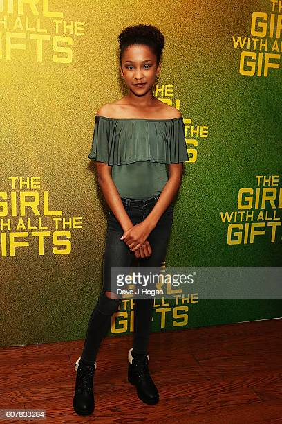 """Sennia Nanua attends a special screening of """"The Girl With All The Gifts"""" at Vue West End on September 19, 2016 in London, England."""