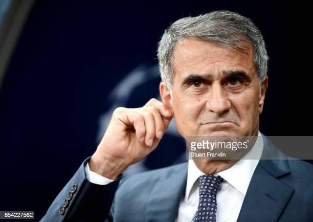 Senol Gunes Manager of Besiktas looks on prior to the UEFA Champions League Group G match between Besiktas and RB Leipzig at Besiktas Park on...