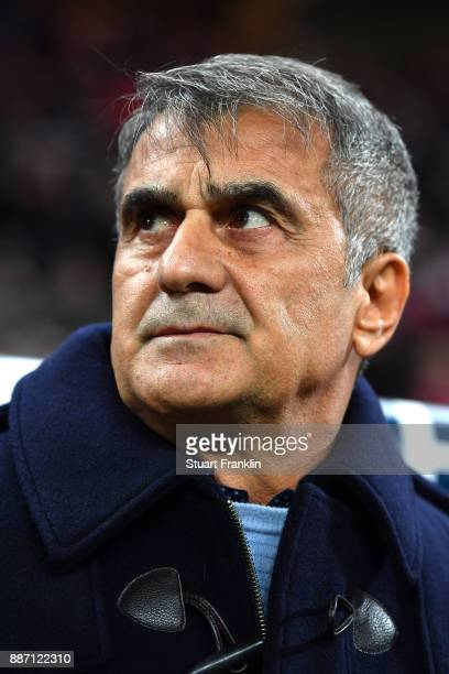 Senol Gunes Manager of Besiktas looks on prior to the UEFA Champions League group G match between RB Leipzig and Besiktas at Red Bull Arena on...