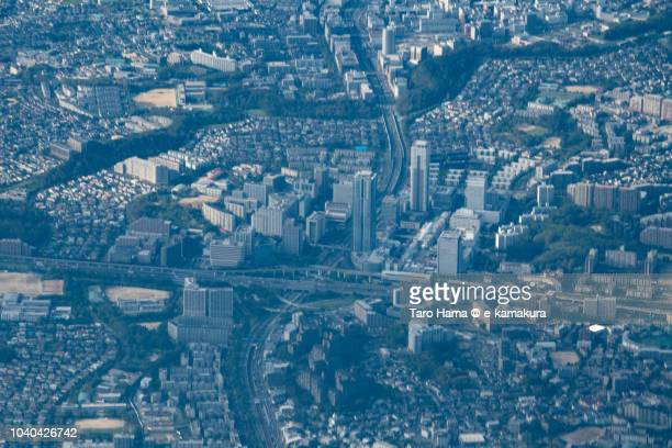 Senri Chuo in Toyonaka city in Osaka prefecture in Japan daytime aerial view from airplane