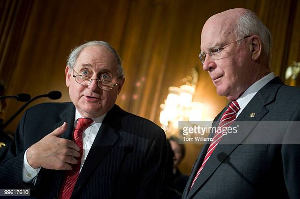 Sens Carl Levin DMich left and Pat Leahy DVt attend a news conference on the passage of the Matthew Shepard and James Byrd Jr Hate Crimes Prevention...