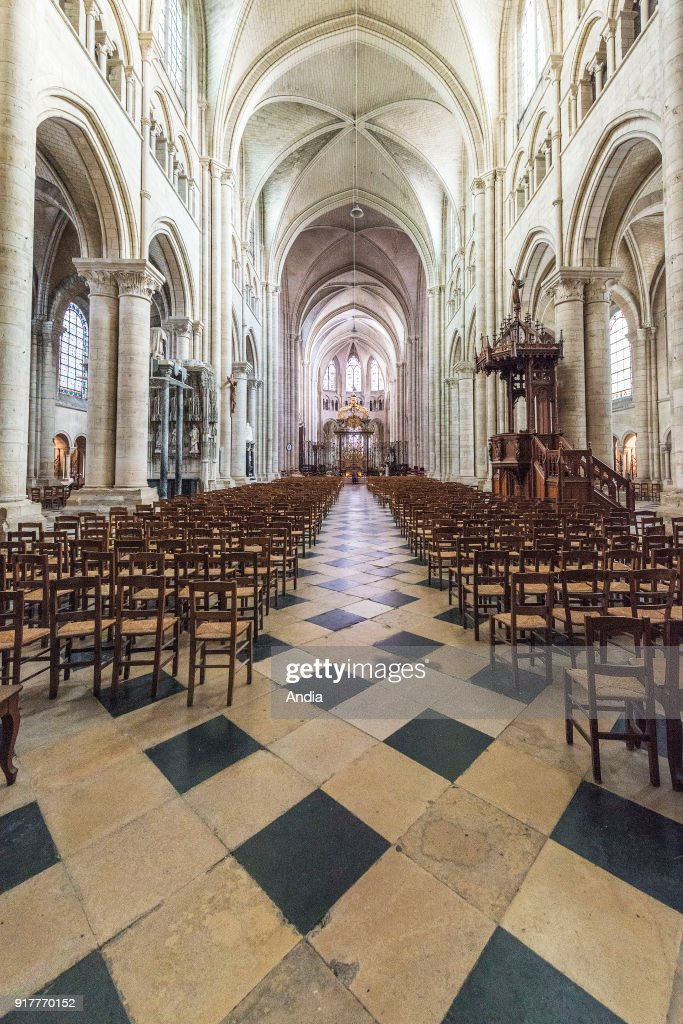 Sens Cathedral, in the Yonne department, Burgundy (French 'Bourgogne'), a Gothic style cathedral listed as a National Historic Landmark (French 'monument historique').