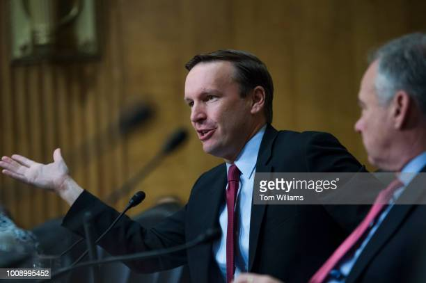 Sens Chris Murphy DConn left and Tim Kaine DVa attend a Senate Foreign Relations Committee nominations hearing in Dirksen Building on August 1 2018 R...