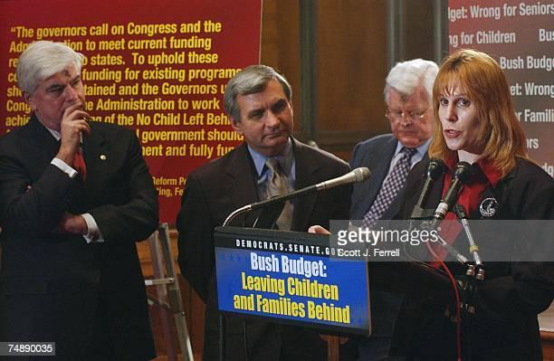 BUDGET 'SHORTFALLS'Sens Christopher J Dodd DConn Jack Reed DRI and Edward M Kennedy DMass with speaker Donna Donlon president of Shelton Park...