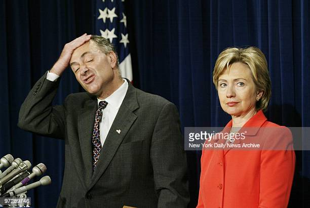 Sens Chuck Schumer and Hillary Clinton hold a news conference about a bill sponsored by them that would make New York City schools eligible for Sept...