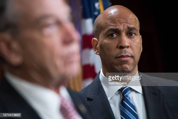 Sens Cory Booker DNJ right and Charles Grassley RIowa conduct a news conference in the Capitol on the passage of the criminal justice reform bill the...