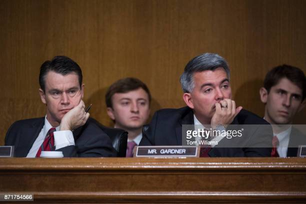 Sens Cory Gardner RColo right and Todd Young RInd attend a Senate Commerce Science and Transportation Committee hearing titled 'Protecting Consumers...