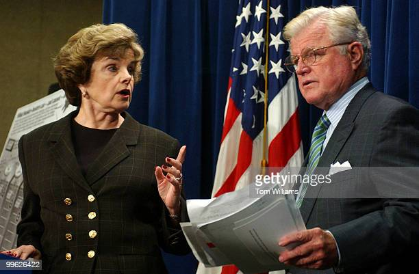 Sens. Diane Feinstein, D-Calif., and Ted Kennedy , D-Mass., attend a news conference urging the Senate to eliminate funds for new generation of...