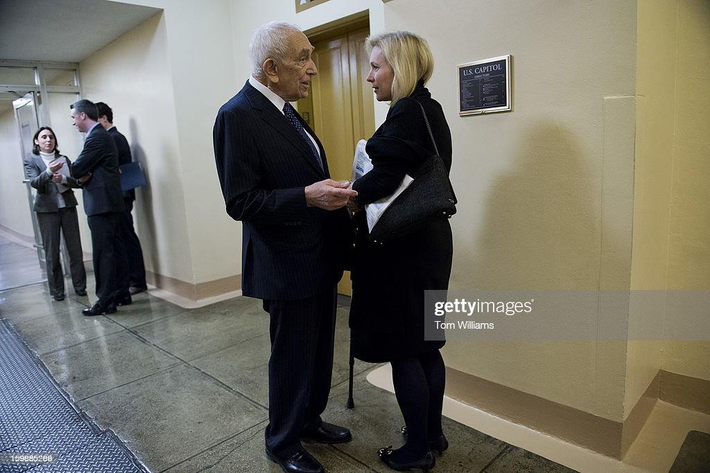 Sens. Frank Lautenberg, D-N.J., and Kirsten Gillibrand, D-N.Y., confer in the basement of the Capitol.