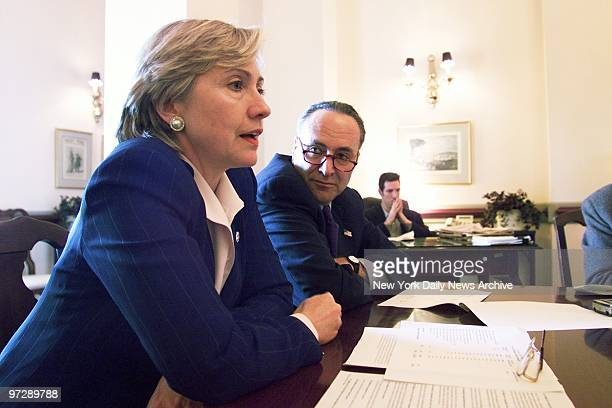 Sens Hillary Rodham Clinton and Charles Schumer discuss the $20 billion in promised federal assistance to help rebuild New York after the Sept 11...