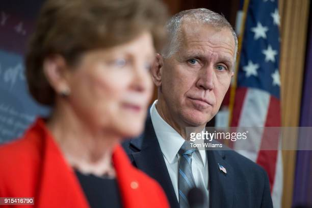 Sens Jeanne Shaheen DNH and Thom Tillis RNC conduct a news conference in the Capitol on February 7 to announce a bipartisan resolution to form a...