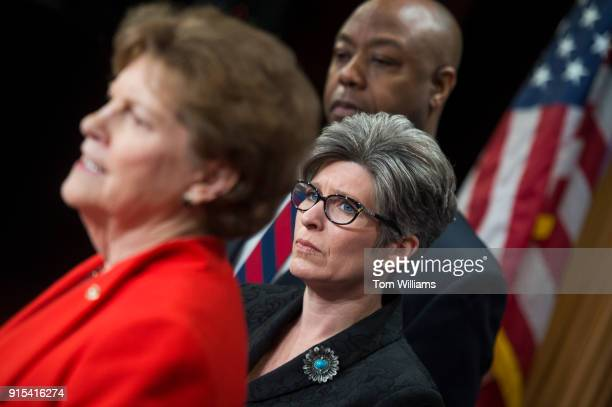 Sens Jeanne Shaheen DNH left Tim Scott RSC and Joni Ernst RIowa conduct a news conference in the Capitol on February 7 to announce a bipartisan...