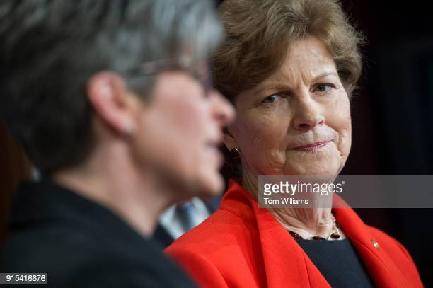 Sens Jeanne Shaheen DNH right and Joni Ernst RIowa conduct a news conference in the Capitol on February 7 to announce a bipartisan resolution to form...