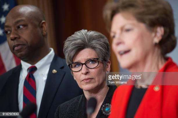 Sens Jeanne Shaheen DNH right Tim Scott RSC and Joni Ernst RIowa conduct a news conference in the Capitol on February 7 to announce a bipartisan...