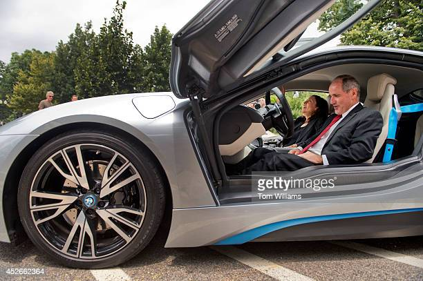 Sens Jim Risch RIdaho and Maria Cantwell DWash check out a BMW i8 on the Senate side of the Capitol July 24 2014 It's carbon fiber frame is made in a...
