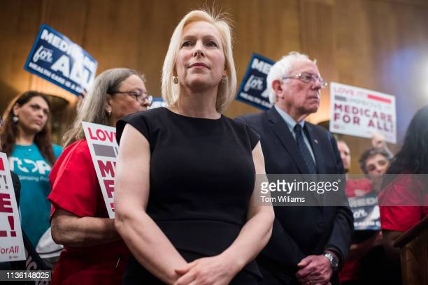 Sens Kirsten Gillibrand DNY and Bernie Sanders IVt conduct an event to introduce the 'Medicare for All Act of 2019' in Dirksen Building on Wednesday...