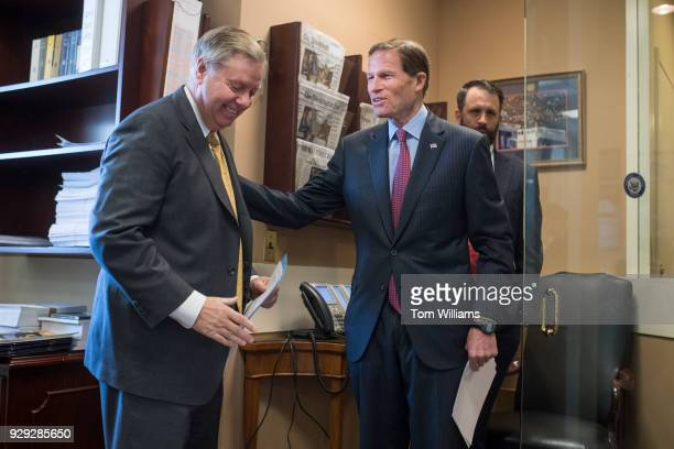Sens Lindsey Graham RSC left and Richard Blumenthal DConn prepare for a news conference in the Capitol to introduce legislation that would prevent...