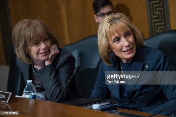 Sens Maggie Hassan DNH right and Tina Smith DMinn are seen before a Senate Health Education Labor and Pensions Committee hearing in Dirksen Building...
