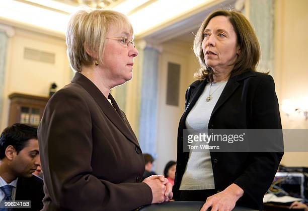 Sens Patty Murray DWash left and Maria Cantwell DWash wait for nominee for Commerce secretary former Gov Gary Locke DWash to arrive at his...