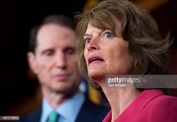Sens Ron Wyden DOre and Lisa Murkowski RAlaska conduct a news conference in the Capitol to announce bipartisan campaign finance reform legislation