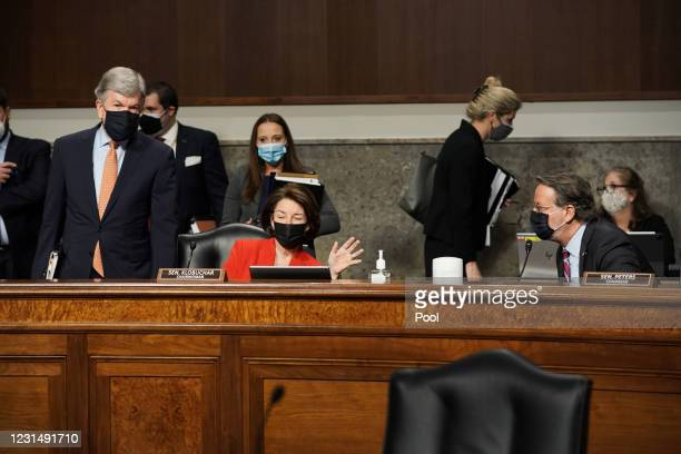 Sens. Roy Blunt , Amy Klobuchar and Gary Peters are seen prior to a Senate Homeland Security and Governmental Affairs & Senate Rules and...
