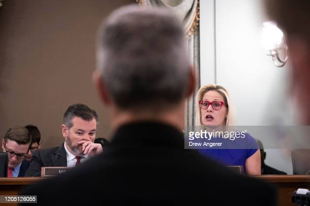 Sens. Ted Cruz and Kyrsten Sinema question witnesses during a Senate Committee on Commerce, Science and Transportation hearing concerning the role of...