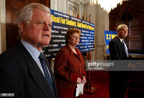 Sens. Ted Kennedy, D-Mass., Debbie Stabenow, D-Mich., and Bob Graham, D-Fla., assemble for a news conference in which they criticized the Medicare...