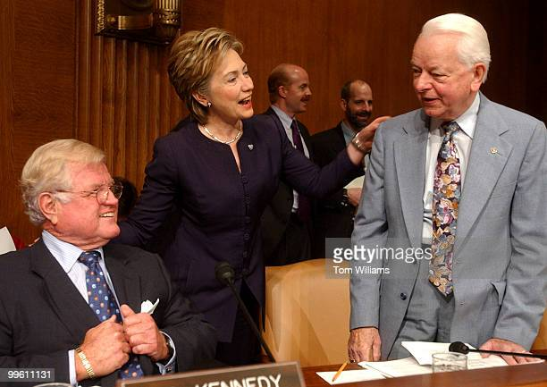 Sens Ted Kennedy DMass Hillary Clinton DNY and Robert Bird DWV chat before a Senate Armed Services Committee on US military commitments and ongoing...