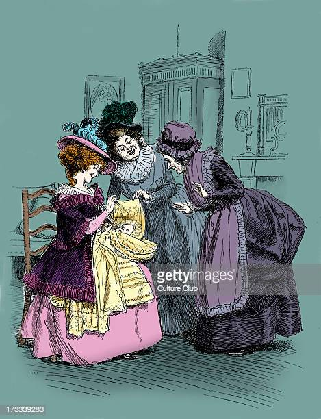 'Sense and Sensibility' by Jane Austen Caption reads Charlotte shows her child to the housekeeper First published in 1896 Chapter XLII Illustration...