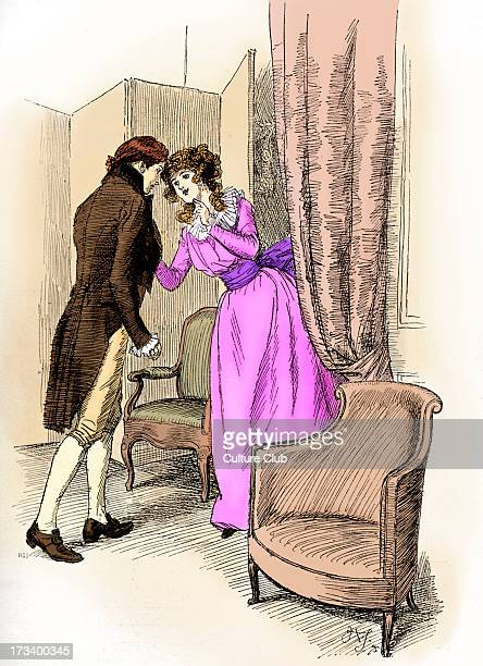 'Sense and Sensibility' by Jane Austen Caption reads Marianne draws Edward aside First published in 1896 Chapter XXXV Illustration by Hugh Thomson...